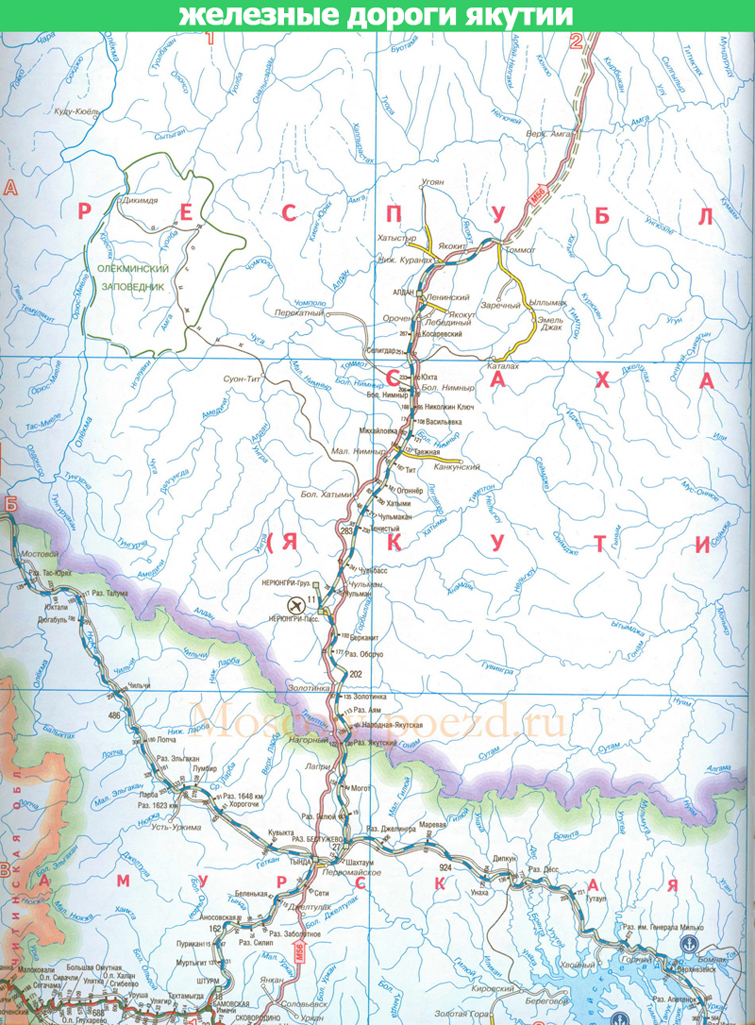 Карта Якутской железной дороги